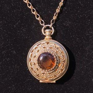 Vintage long amber glass locket necklace